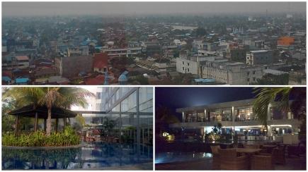 pemandangan kota Banjarmasin dan dua spot di salah satu hotel utama pusat kota