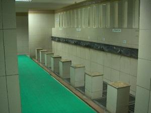 gambaran 'lantai besi berderet' nya seperti ini, tetapi ini ada di tempat wudhu, sementara untuk toilet pengunjung umum modelnya jadul dan lawas banget deh, tidak ber-cat dan usang. (perahukayu.wordpress)